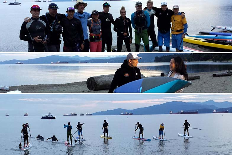 Stand Up For Men's Health paddle boarders group photo from starting point at First Beach of English Bay