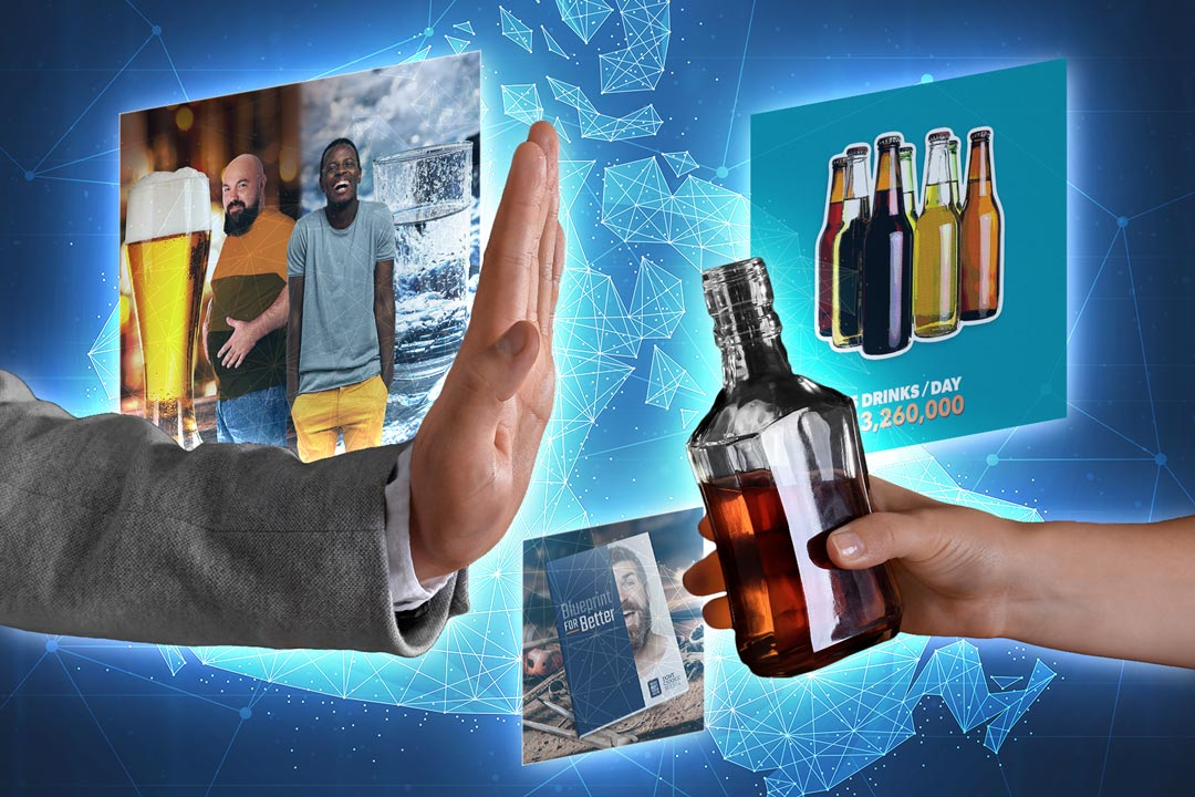 A hand refusing alcohol with blog posts in the background