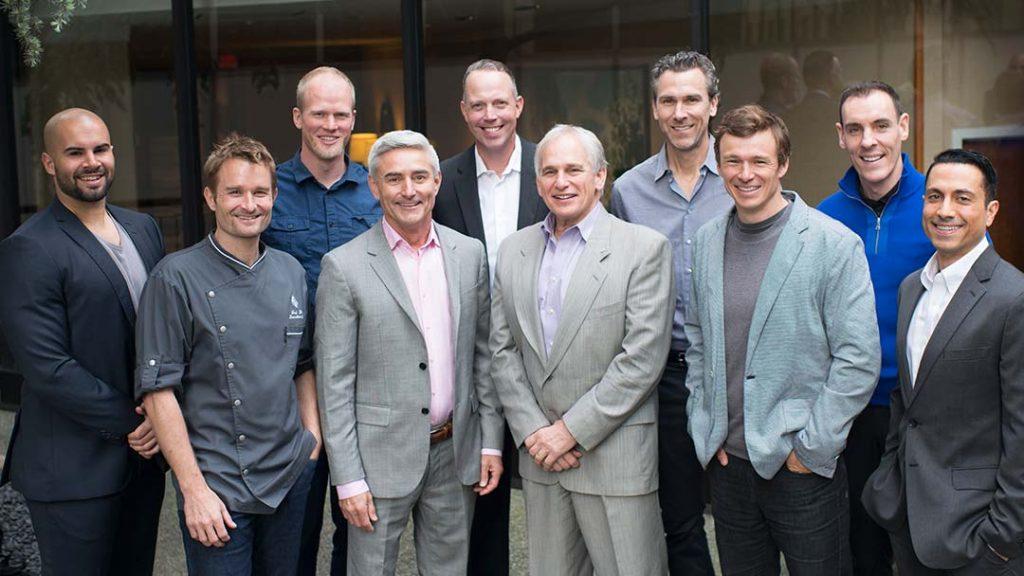 Initial Champions Breakfast with Canadians Trevor Linden, Simon Whitfield, Shea Emry, Adam Kreek, Alain Vigneault, Jim Hughson and Ned Bell