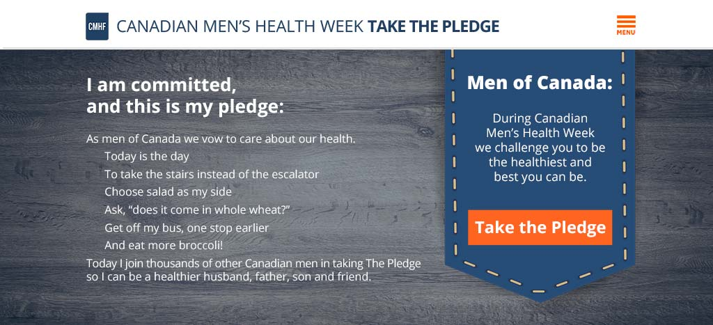 CMHF champions take the Canadian Men's Health Week Pledge